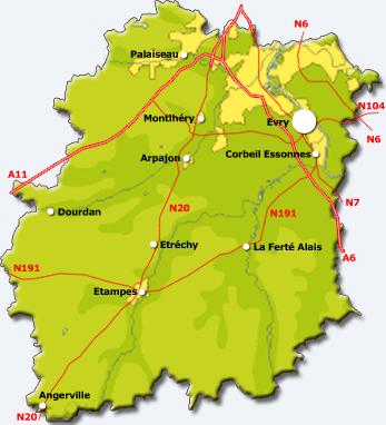 Carte de l'Essonne (91)